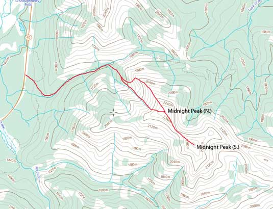 The route I took on Midnight Peak