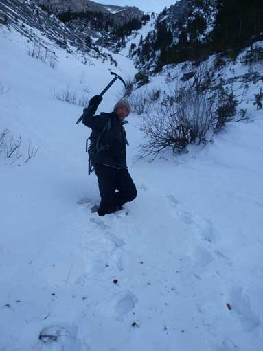 Me just about to enter waist deep snow