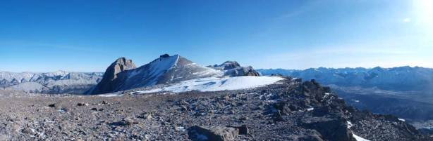 Looking further south from the summit. The Miette Range continues to Capitol Mountain and then to Mount O'Hagan