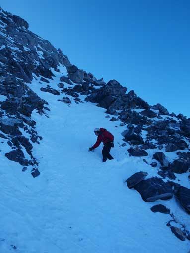 Traversing this snow gully