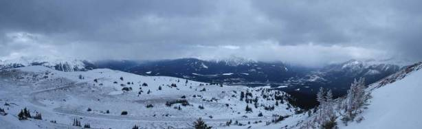 A panorama from just above treeline. Note the Signal fire road.