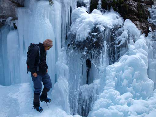 Me checking an interesting ice formation