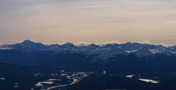 Edith Cavell and Trident Range. Jasper townsite below