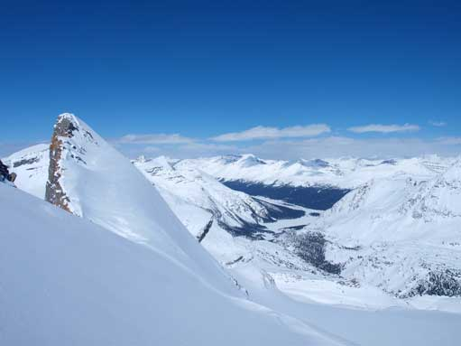 This shot gives a better perspective of the right side. An avalanche will send you straight down to Bow Hut.