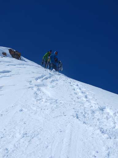 Ben and Vern descending the upper slope, 'shoes off