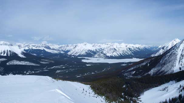 Looking towards the south end of Spray Lake. Cone Mountain behind. Assiniboine is also visible in the far distance.