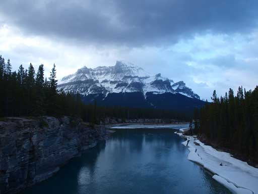 Mount Murchison seen from the large bridge crossing N. Sask/Alexandra River