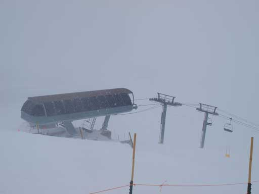 At the summit, looking down towards Continental Divide Chairlift upper station