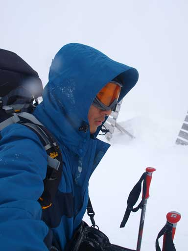 Me on the summit in a blizzard/white-out