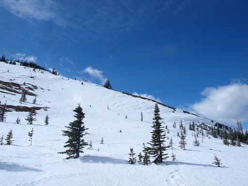 The big open slope just before false summit