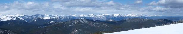 Panorama looking NW. In the distance are peaks north of Bow Valley