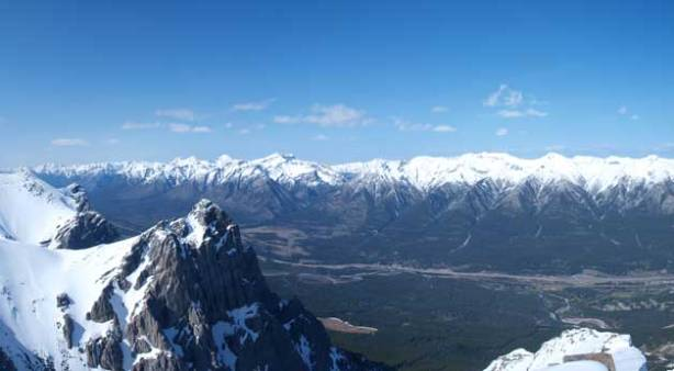 Looking up Bow Valley from the summit. Fairholme Range in the background.