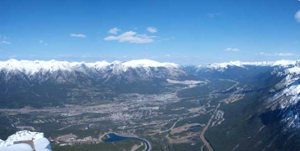 Looking down Bow Valley. Canmore townsite below.