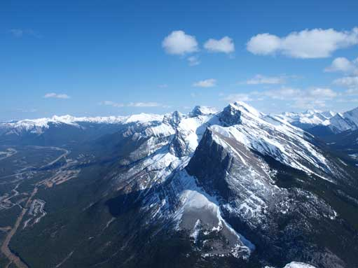 Ha Ling Peak is the pointy one in foreground. Lawrence Grassi just behind it.