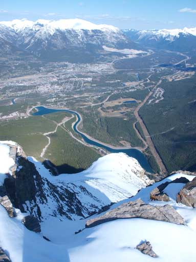Looking down towards Canmore.