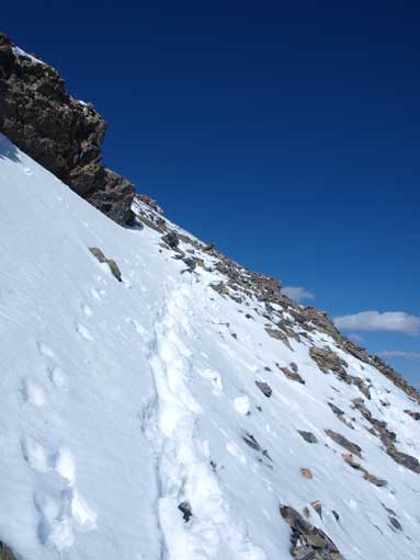 Time to go down, still had to deal with snowy condition near the crux.