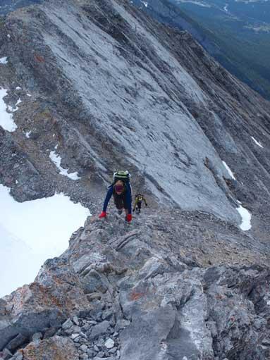 Scrambling up towards false summit