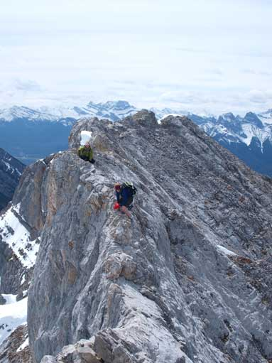 Diana challenging the crux, while Lindsay called it a day.