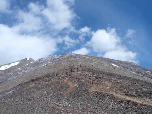 Looking back at the scree slope.