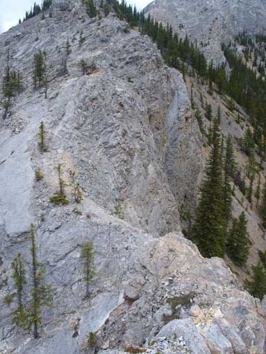This is looking down at the crux down-climb