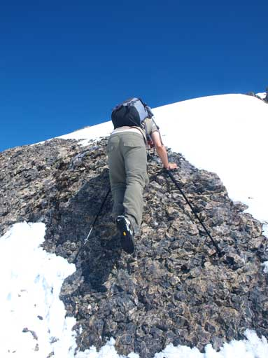 Down-climbing a short step