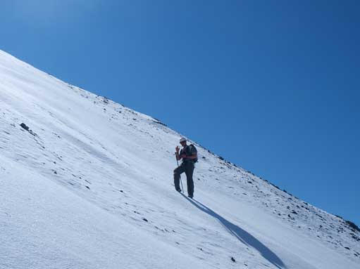 Descending a gully towards Cardinal River side.