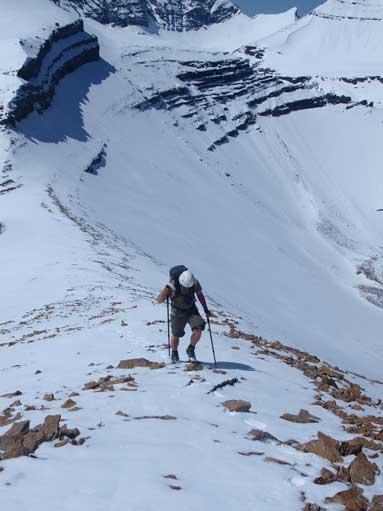 Eric slogging up Cheviot Mountain