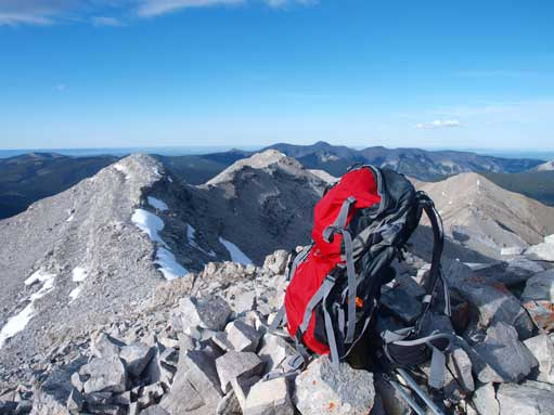My backpack on the summit.