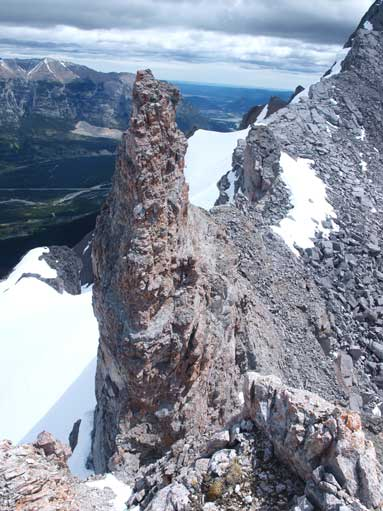 An interesting pinnacle near the crux.