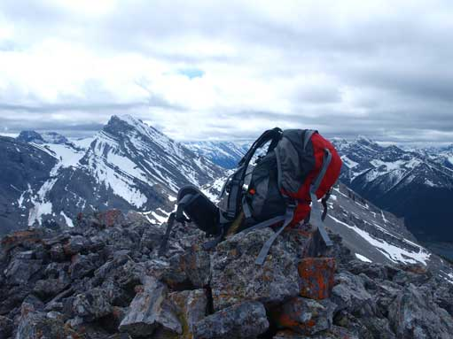 My backpack on the summit. Note I still had the bear spray on this trip. I lost them very soon, and I hadn't bought a new one yet.