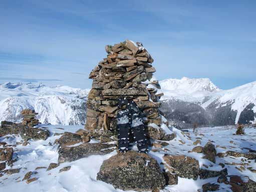 The summit cairn is huge