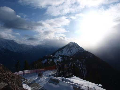 Looking south towards the other peaks on Sulphur Mountain