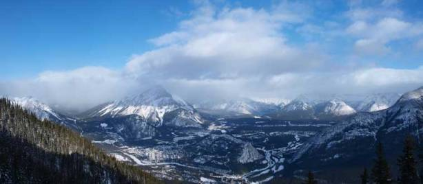 A panorama view of Banff and Cascade Mountain