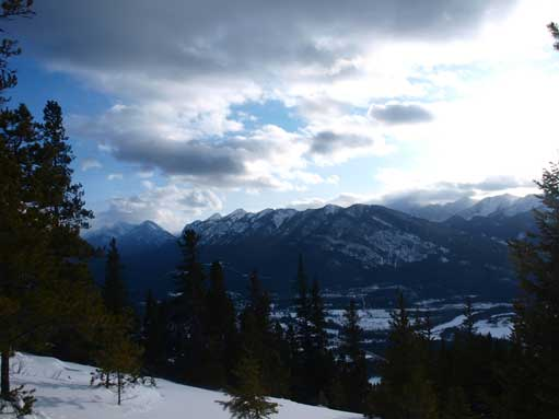 The view occasionally opens up. Looking towards Sulphur Mountain