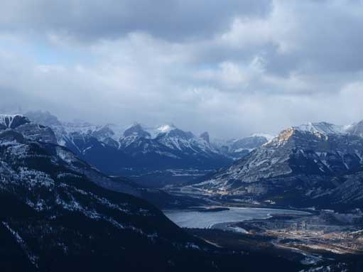 Zooming-in into Bow Valley. You can see Mount Lawrence Grassi and Ha Ling