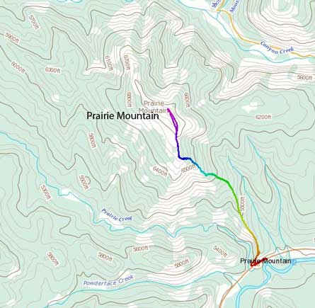Prairie Mountain standard hiking route