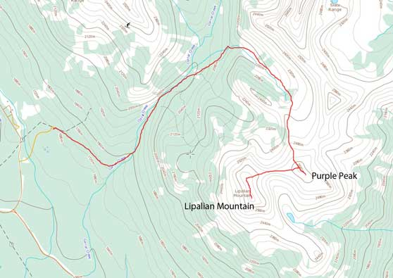 Purple Peak to Lipalian Mountain winter route