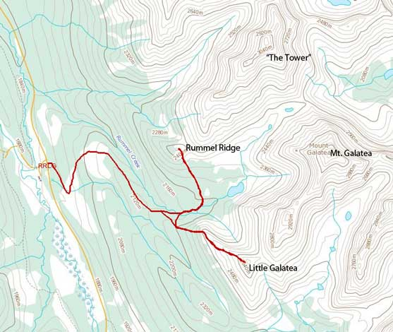 Rummel Ridge and Little Galatea snowshoeing ascent route
