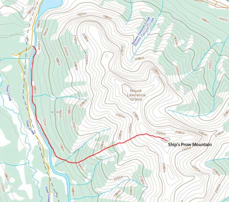 Ship's Prow Mountain scramble route