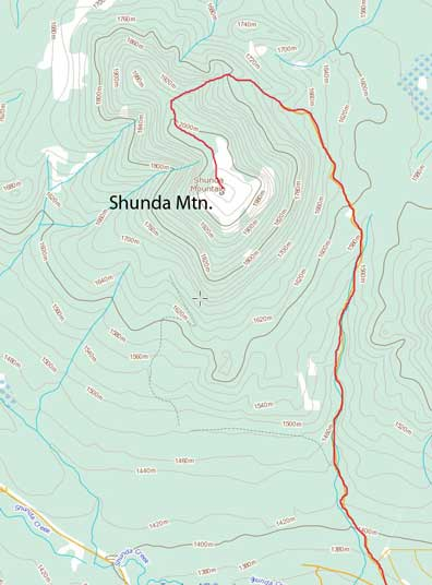 Shunda Mountain hiking route