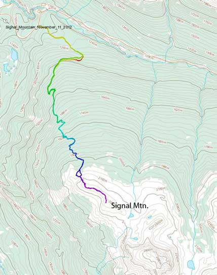 Signal Mountain hiking/snowshoeing ascent route