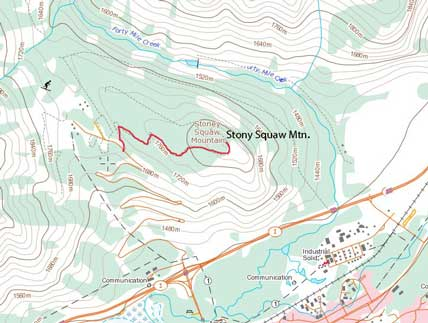 Stony Squaw Mountain hiking route
