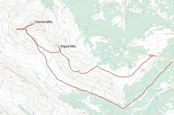 Tripoli Mountain and Cheviot Mountain scramble route