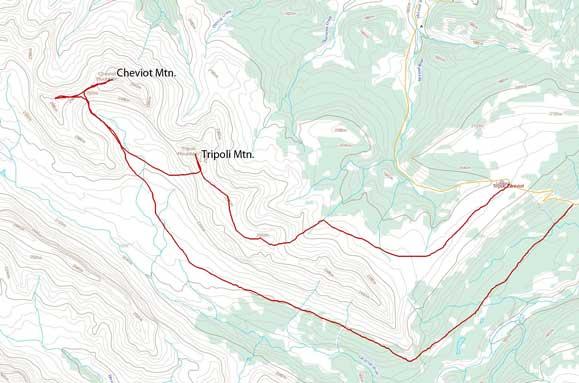 Tripoli Mountain and Cheviot Mountain scramble route