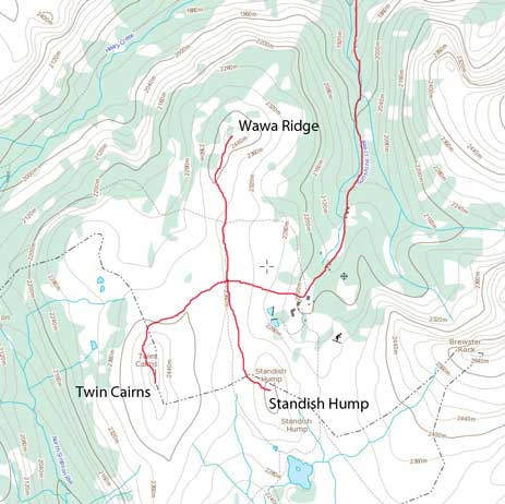 Ascent route for Twin Cairns, Wawa Ridge and Standish Hump