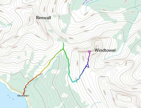 The standard ascent route for Windtower