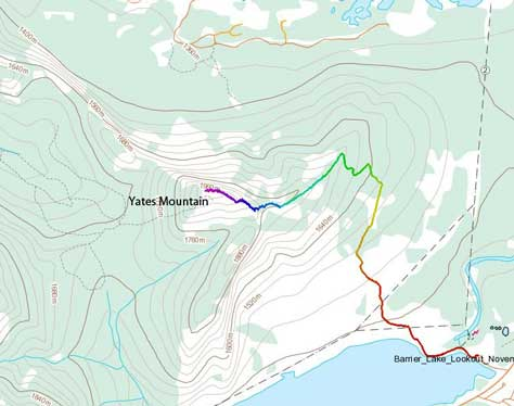 Yates Mountain (Barrier Lake Lookout) hiking route