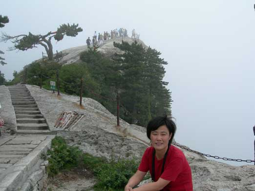 Mom near the summit of west peak. It was a grey-out up there