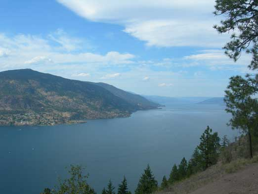 The northern part of Okanagan Lake seen from Knox Mountain
