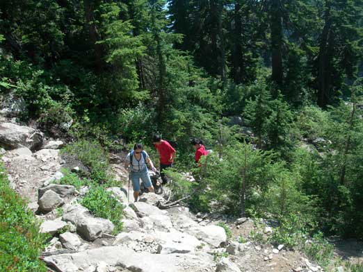 Hiking up the typical terrain